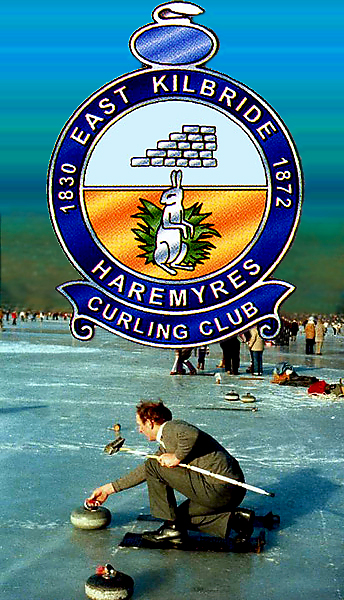 EAST KILBRIDE and HAREMYRES CURLING CLUB BADGE WITH BACKGROUND PHOTO OF JOHN STRANG CURLING AT GRAND MATCH LAKE of MENTIETH 1979 AND LINK TO WELCOME PAGE you may click on me to move on